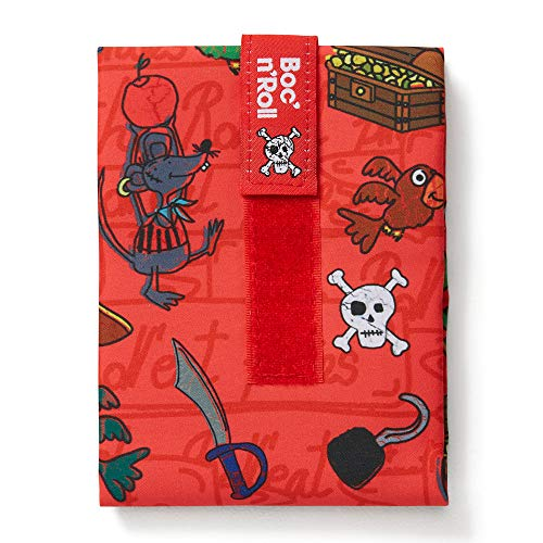 Roll'eat - Boc'n'Roll Kids | Bolsa Merienda Infantil Porta Bocadillos, Envoltorio Reutilizable y Ecológico sin BPA, Piratas Rojo