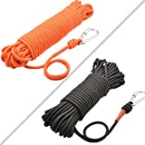 HomTop Magnet Fishing Rope with Carabiner - All Purpose Nylon High Strengte Cord Safety Rope - 65 Feet - Diameter 8mm - Approximately 1/3' Orange