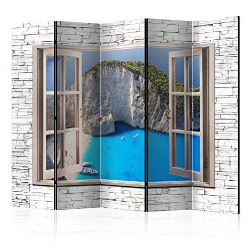 murando Raumteiler Fensterblick Fenster Landschaft Foto Paravent 225x172 cm beidseitig auf Vlies-Leinwand Bedruckt Trennwand Spanische Wand Sichtschutz Raumtrenner Home Office grau blau c-C-0092-z-c