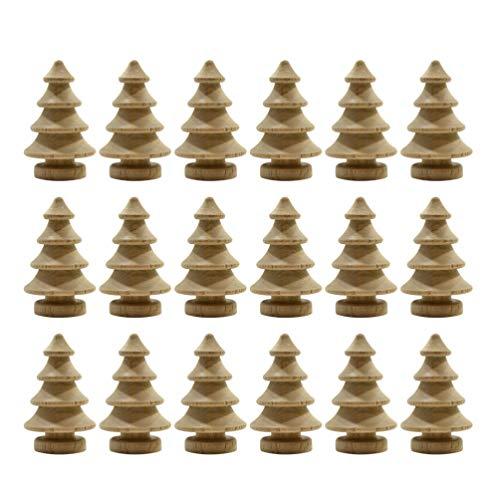 Toyvian 20 Stücke Mini Holz Weihnachtsbaum DIY Holzfiguren zum Bemalen und Basteln Figurenkegel Holzkegel Kleiner Tannenbaum Christbaum Weihnachten Tischdeko Weihnachtsdeko