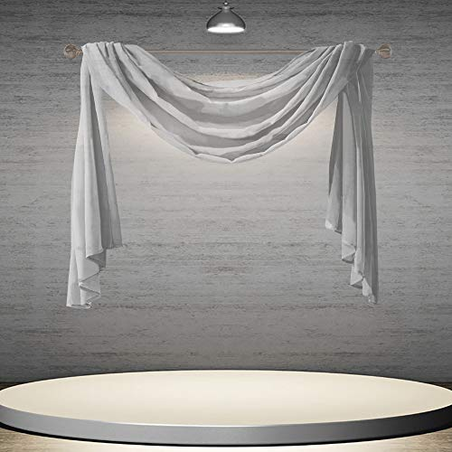 DONREN 144 Inches Long Window Scarf Valances for Party - Luxury Soft Gray Semi Sheer Curtain Scarf for Window,1 Panel (Gray,1 Panel)