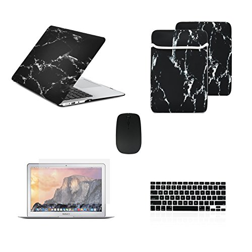 "TOP CASE - 5 in 1 Omni Bundle Marble Pattern Hard Case, Keyboard Cover, Screen Protector, Sleeve and Mouse Compatible MacBook Air 13"" A1369 & A1466 (Older Version, Release 2010-2017) - Black"