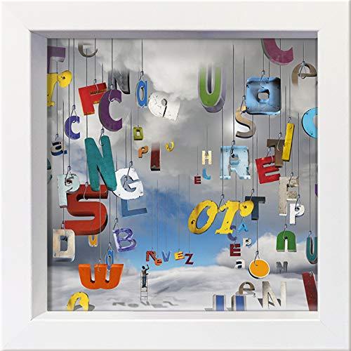 International Graphics - Cartolina incorniciata'The Lettres Pour le Dire : rêvez !' - 16 x 16 cm – Cornice bianca