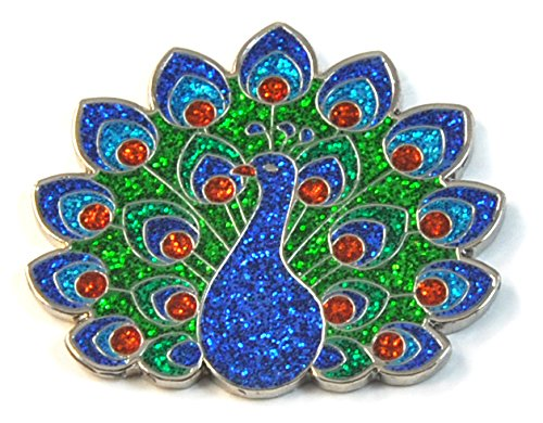 Navika Glitzy Peacock Ball Marker with Magnetic Hat Clip