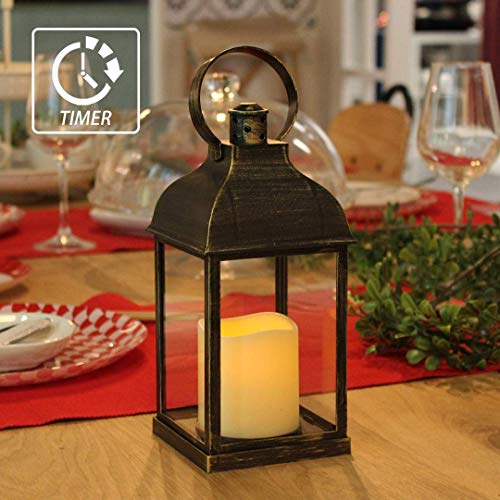MammyGol Vintage Decorative Lanterns with Timer - 10' Outdoor Candle Lantern with LED Flickering Flameless Candles - Hanging Lanterns for Wedding Party Decoration - Plastic with Bronze Undertones