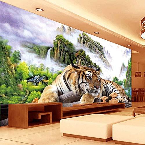 Murali da parete Fotomurale Carta da parati 3D Tigre Natura Paesaggio Murale Stile cinese Classico Soggiorno TV Divano Sfondo Carta da parati per pareti 3 D Decor-300 X 250CM
