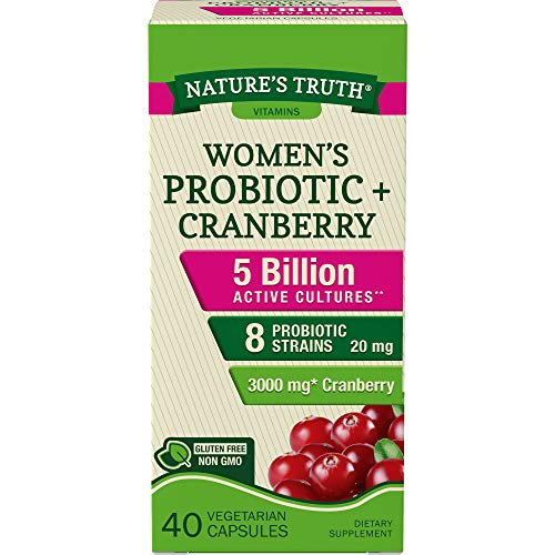 Probiotics for Women | 5 Billion Active Cultures | 40 Vegetarian Capsules | with Cranberry | Non-GMO, Gluten Free | by Natures Truth