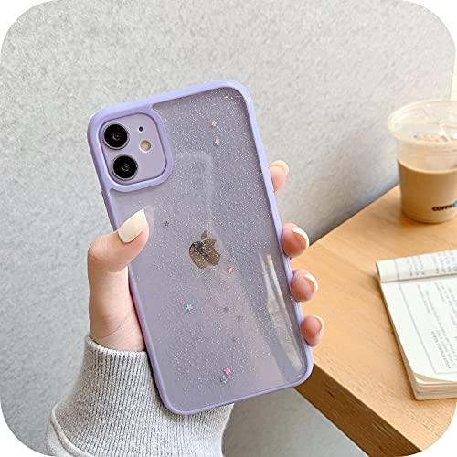 Bling Glitter Star - Carcasa para iPhone 12 12Mini 11 Pro Max Xr Xs Max X 7 8 Plus transparente de silicona suave lentejuelas Shell Casos - Púrpura - Para Iphone 6S