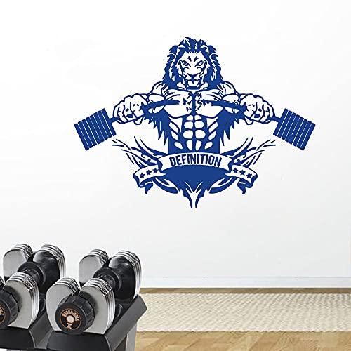 Zdklfm69 Pegatinas de Pared Adhesivos Pared Decoración de Arte Animal decoración del hogar Vinilo guardería habitación de niños Deportes león Gimnasio Gimnasio Cartel Mural 103x74cm