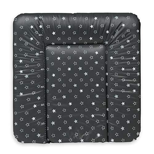 Ceba Baby Wickelauflage Wickelunterlage Wickeltischauflage 70x75 cm Abwaschbar - Dunkelgrau Sterne 70 x 75 cm