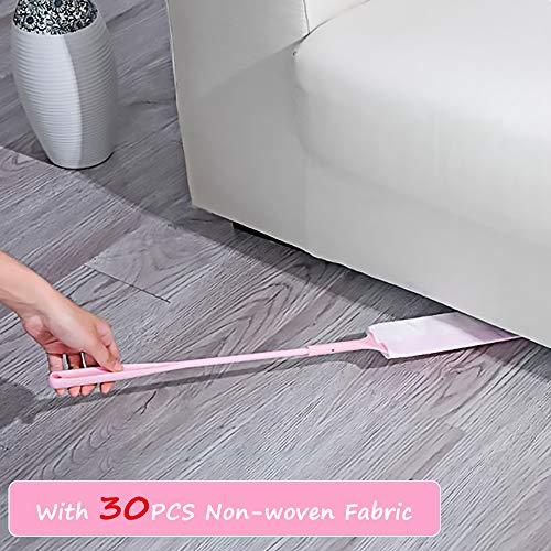 Ausziehbarer Staubtuch-Langstiel-Staubwedel-Flachbürste Mini-Fenster mit hoher Reichweite für kleine Lücken, Fensterläden, hinter dem Kühler, unter dem Sofa (Pink)