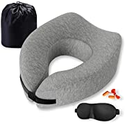 Familamb Travel Pillow Memory Foam Neck Pillow with Washable Cotton Cover-Ergonomic Design -Neck Head Chin Support Soft Pillow- Airplane Travel Kit with Bag,Eye Masks and Earplugs Grey