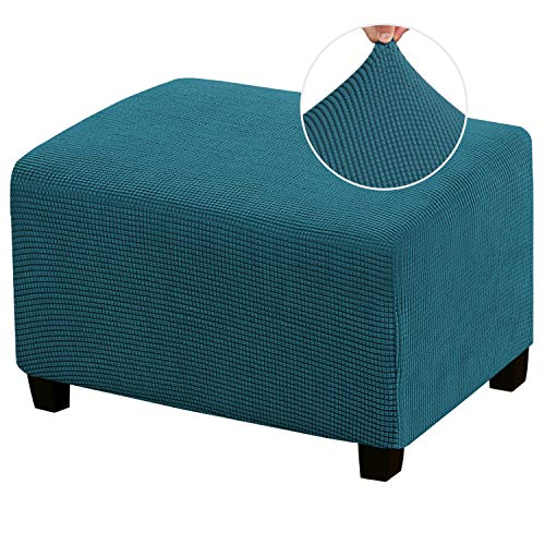 Stretch Ottoman Cover Ottoman Slipcovers Rectangle for Living Room Foot Stool Stretch Covers to Fit Ottoman Foot Rest, Thick Checked Jacquard Fabric with Elastic Bottom (Oversized Ottoman, Deep Teal)
