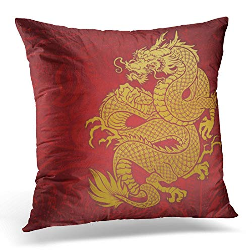 lucies Throw Pillow Cover Artsprojekt Dragon Gold and Asia Decorative Pillow Case Home Decor Square 18'' X 18'' Pillowcase