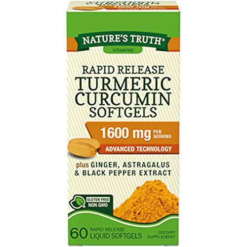 Nature's Truth Rapid Release Turmeric Curcumin Softgels, 1600mg - 60 Liquid Softgels Each (Value Pack of 3)