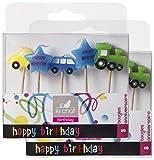 Le Chat 1195099 Lot de 2 packs de 5 bougies anniversaire'voitures, locomotives, étoiles' sur pic coloris assortis