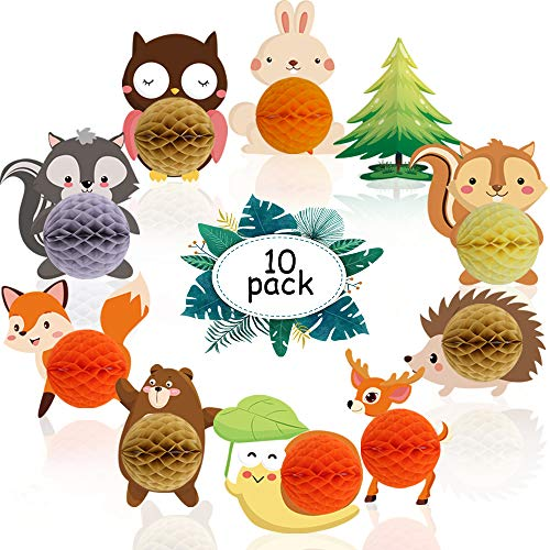 Woodland Animals Honeycomb Ball Centerpieces Decor for Woodland Baby Shower Kids Woodland Creatures Theme Birthday Party Supplies