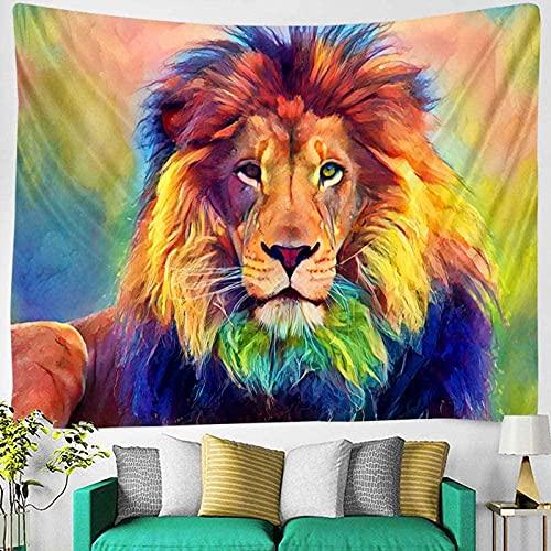 Tapiz tapiz de león mandala macramé león psicodélico colgante de pared boho tapiz para el hogar cortijo gótico revestimiento de paredes decoración nórdica decoración de la habitación 150X100 CM