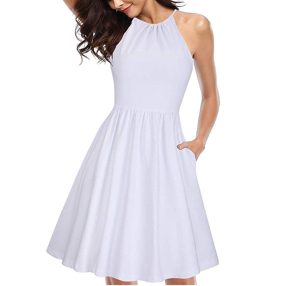 Women Mini Dress Sleeveless High Waist Slim Fit Flare Skater Mini Tank Dress Above Knee Length Short Dress with Pocket
