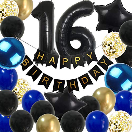 16th Birthday Decorations Boys - Royal Blue Gold Happy 16 Birthday Balloons Party Supplies for Him with Black Banner (16th Blue)