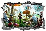 BAOWANG Wandtattoo Alice im Wunderland 3D Sticker