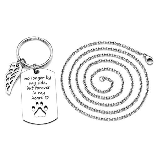 PiercingJ Personalized Custom 2 in 1 No Longer by My Side But Forever in My Heart Stainless Steel Pet Memorial Dog Cat Paw Dog Tag Pendant Keychain Key Ring + Necklace Pet Sympathy Gift for Pet Lover