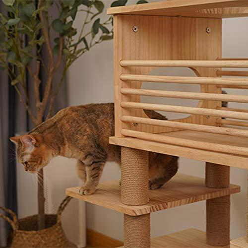 LXHONG Katzenturm Mit Niedlichen Anhängern, Einfach Zu Installierender Kratzbaum, Katzenklettergerüst Für Mehrere Katzen, Zum Schlafzimmer Studie Haustierzimmer Massivholz, Einfach Zu Säubern