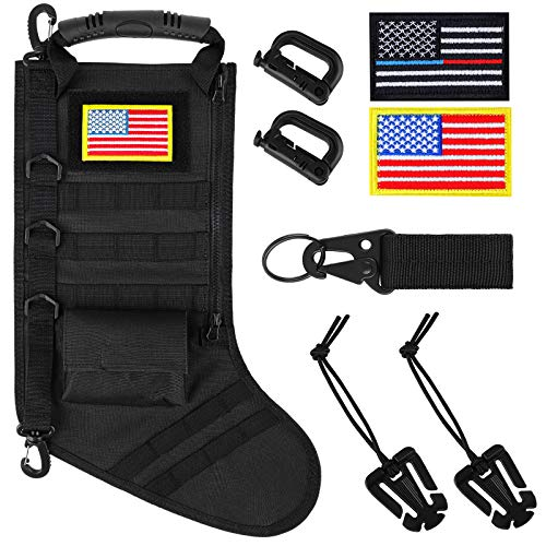 Aneco Tactical Christmas Stocking Soldiers Tactical Stocking Veterans Military Christmas Stocking Patriot Tactical Stocking for Husband Son and Christmas Family Fireplace Decor (Black)
