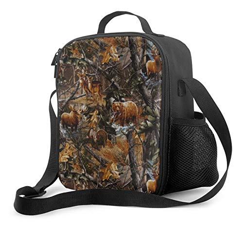 Camo Hunting Deer Bear Duck Men & Women Insulated Lunch Bag,Reusable Tote Lunch Box with Water Bottle Holder and Adjustable Shoulder Strap for Office Picnic