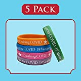 Covid Wristbands 5 Pack | Fits Adults Teens Multicolor | Silicone Vaccination Bracelets for COVID-19 Vaccine Support | Covid Bands I Covid Vaccinated ID for Front Line Workers