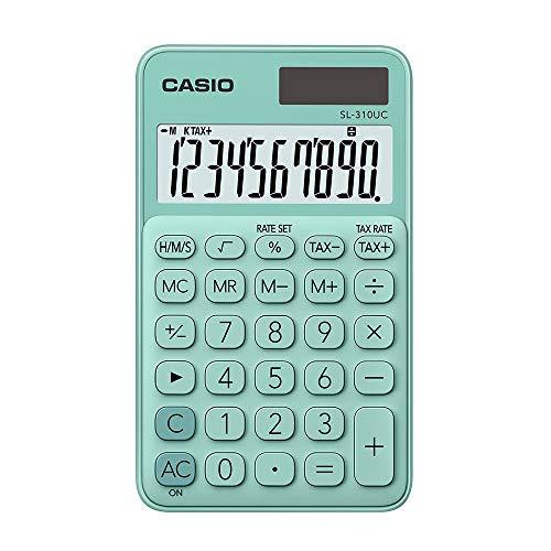 Calculadora Portátil Casio c/ visor amplo 10 dígitos e alimentação Dupla Casio, Turquesa