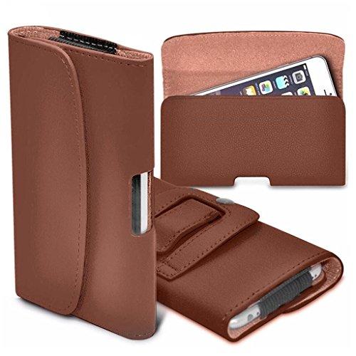 VVM Tech - Funda para Samsung Galaxy J7 Prime 2 (5,5 pulgadas), piel sintética de alta calidad con botón magnético horizontal, color marrón