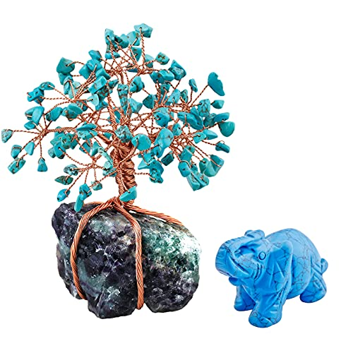 mookaitedecor Green Howlite Turquoise Crystal Money Tree Crystals Base & Elephant Statue Figurine for Feng Shui, Wealth and Luck