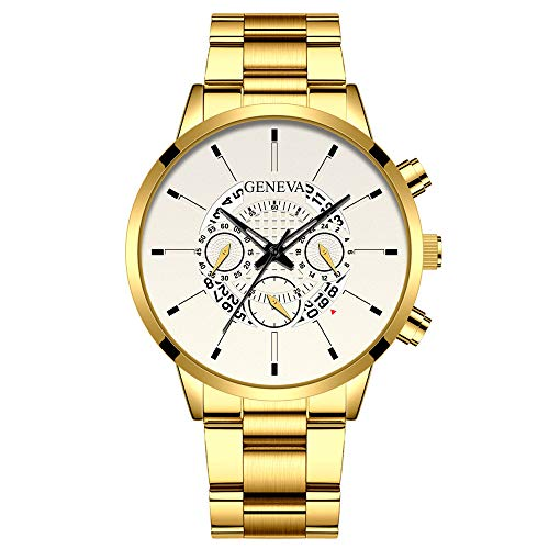 RelojCalendario de Moda para Hombres Aleación de Acero Inoxidable Relojde Banda de Acero de Cuarzo de Alta Gama para Hombres