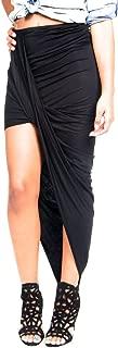 Women's Black Ruched Asymmetrical Draped Wrap Skirt