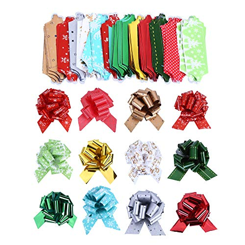 Christmas Gift Pull Bows 5in Wide Set of 12 Red Green Gold Stripes Swirls Gift Bows Christmas Presents Birthday Boxing Day Hanukkah Wreath Swag Christmas Tree Fundraiser