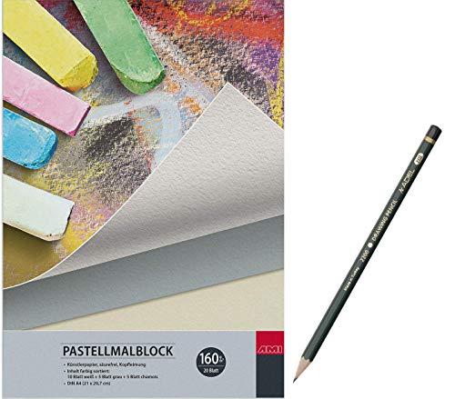 Pastellmalblock Artservice-Tube, Malblock für Pastellfarben, Skizzenblock Zeichenblock, 20 Blatt Zeichenpapier, DIN A4 inklusive HB Bleistift