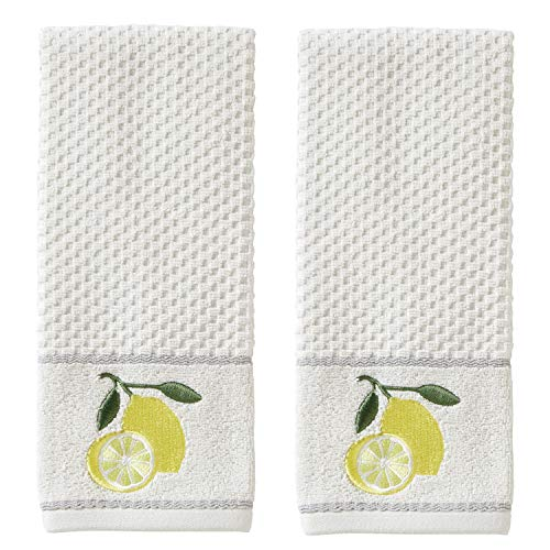 SKL HOME by Saturday Knight Ltd. Lemon Zest Hand Towel, White (2-Pack)