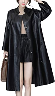 DISSA P8110 Women Faux Leather Long Overcoat Slim Coat Leather Jacket