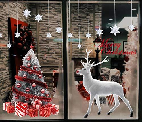 CMTOP Weihnachten Fenstersticker Weihnachtsdeko Fenster Weihnachtsbaum Süße Elche Fensteraufkleber PVC Fensterdeko Selbstklebend für Türen Schaufenster Vitrinen Glasfronten