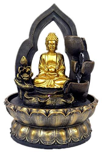 mimiliy Buddha Tabletop Fontaine d'eau, résine Zen Lotus Buddha Statue Statue Fontaine Feng Shui Figurines Accueil Bureau de Bureau Décoration de Bureau Méditation Garden Ornements, Or