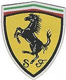 Patch-Toppa Microricamata in HD/jacquard (Alta Definizione)Termoadesiva - Scudetto Ferrari - Dimensioni : H. cm.7,5 x L. cm.6,2 - Made in Italy
