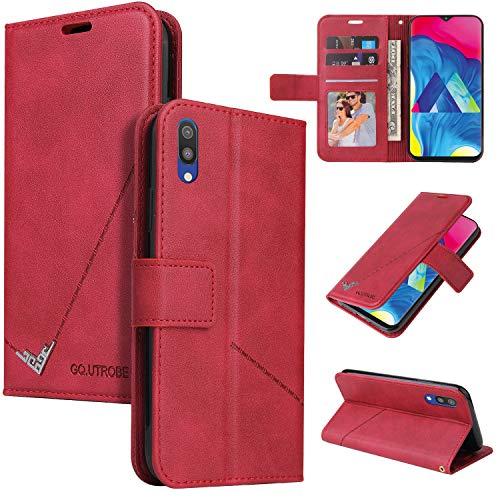 LODROC Galaxy A10 / M10 Hülle, TPU Lederhülle Magnetische Schutzhülle [Kartenfach] [Standfunktion], Stoßfeste Tasche Kompatibel für Samsung Galaxy A10/M10 - LOYKB0600202 Rot