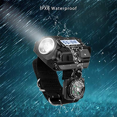 FEE-ZC Tragbare leichte 4-Modus-LED-Taschenlampe, wiederaufladbare wasserdichte Uhr Armbanduhr SOS-Zeitanzeige mit Kompass für Nachtlauf