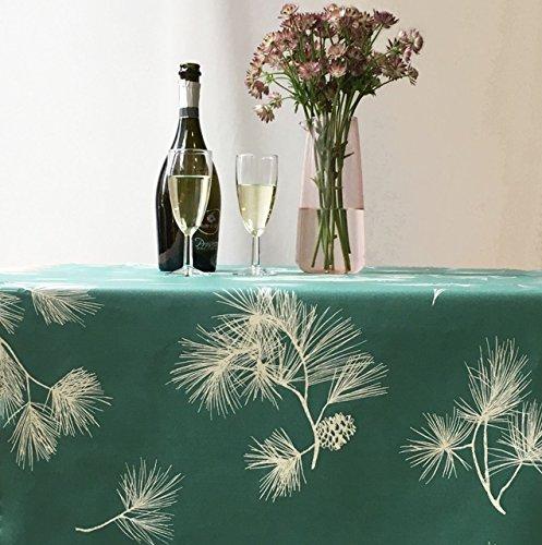 Fleur de Soleil - Nappe enduite ronde ou ovale Pin Vert Dimension - Ovale 160x200cm, Finition - Ourlée, Matière - Coton enduit