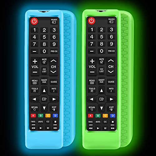 2Pack Silicone Protective Case Sleeve for Samsung LCD LED HDTV 3D Smart TV Remote,Samsung BN59-01199F BN59-01301A Remote Holder Skin,Shockproof Samsung Remote Bumper Back Covers-Glowblue Glowgreen