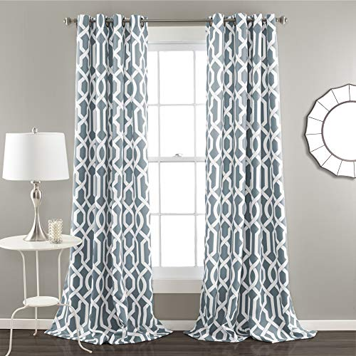Edward Trellis Curtains Room Darkening Blue Window Panel