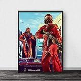 WDQFANGYI Póster De GTA 5, Lienzo, Arte De Pared, Grand Theft Auto V, Juego De Papel Tapiz, Impresiones, Pegatinas De Barra, Mural, Decoración De Dormitorio, 50X70 Cm (Sh-3180)