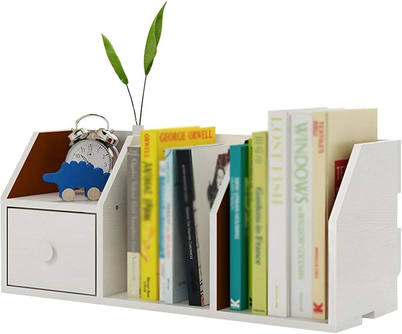 Chunlan bookshelf Desktop with Drawer Small Bookshelf Shelves Small-Scale Office Storage Rack, 55  20  24cm (color   White Willow, Size   55  20  24cm)