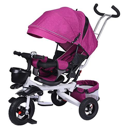 TXTC Kinder Dreirad Foldable Kombi 1-3-6 Jahre Alt Kinderwagen Baby-Fahrrad, Buggy, Faltbar Fußpedal for Jungen Und Mädchen (Color : Pink-White Tube)